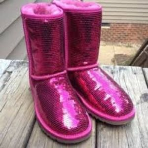 Like new pink sparkly ugg boots